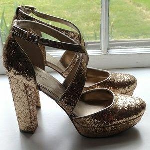 (NEW) Guess Gold Glitter Cross Strap Heels (9.5)
